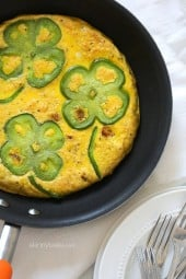 You can literally throw anything into a frittata and call it a meal, but I thought it would be fun to make this one a St Patricks Day theme which of coarse MUST have yukon gold potatoes, and to create a shamrock design, I sliced my bell peppers into flower shapes – completely optional! This one's vegetarian, perfect if you need a meatless Monday dish idea, and it's naturally gluten-free.