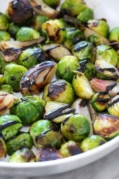 These pan roasted brussels sprouts and shallots are perfectly charred, and finished with a sweet balsamic glaze.