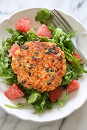 These healthy salmon burgers are made with fresh wild salmon, quinoa, and kale.