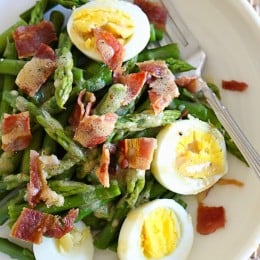 I love the combination of this simple salad of asparagus, hard boiled egg and bacon tossed with a Dijon vinaigrette – it has Spring written all over it!