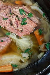 Since tomorrow is St Patrick's Day, I'm sure many of you will be enjoying the classic Irish-American dish, corned beef and cabbage, which I am sharing from the archives! This is what we'll be eating for dinner tomorrow and I can't wait! I used frozen pearl onions and I used parsnips instead of potatoes to make this easy peasy and the results were great!