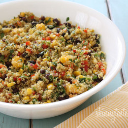 This healthy salad is a great way to jump start your Spring! Quinoa, black beans, mango and vegetables with cilantro and lime juice – a delicious combination perfect for lunch or as a side dish. (perfect for Meatless Mondays!) Leftovers are great, the flavors only get better the next day.