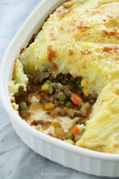 Because St. Patrick's Day is right around the corner, I thought sharing this oldie-but-goodie – my lightened up Shepherd's Pie, filled with lean ground beef, veggies, and topped with my skinny yukon gold mashed potatoes would be perfect for all you meat and potato lovers out there! This is so comforting and filling, it doesn't taste light!
