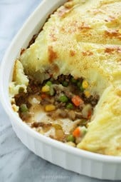 This lightened up Shepherd's Pie recipe, filled with lean ground beef, veggies, and topped with yukon gold mashed potatoes would be perfect for all you meat and potato lovers out there!