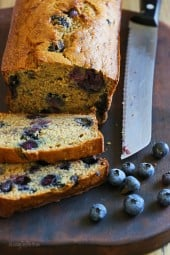 Blueberries and banana combine so well together in this delicious, super moist bread made with lots of very ripe sweet bananas which allow you to cut back on the fat without sacrificing the flavor and texture. This is perfect for breakfast or snack and can also be made as muffins if you prefer.