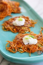 5-ingredient Sweet Potato Latkes – a healthier take on the traditional deep fried potato pancakes, these are lightly pan fried in a small amount of olive oil, made with sweet potatoes instead of white and made EASY by using a spiralizer because it eliminates the need to grate the potatoes, which can take a lot of time.