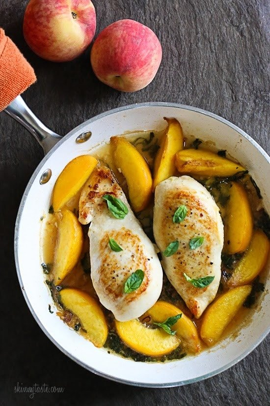 Skillet Basil-Peach Chicken Breasts - a light and easy summer dish!