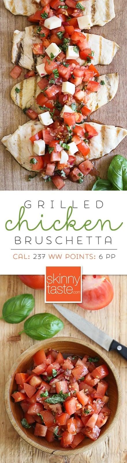 Grilled chicken Bruschetta - a delicious, light summer dish!
