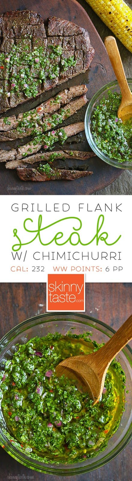 Grilled Flank Steak with Chimichurri - flank is a leaner steak, perfect for grilling topped with this delicious chimichurri sauce.