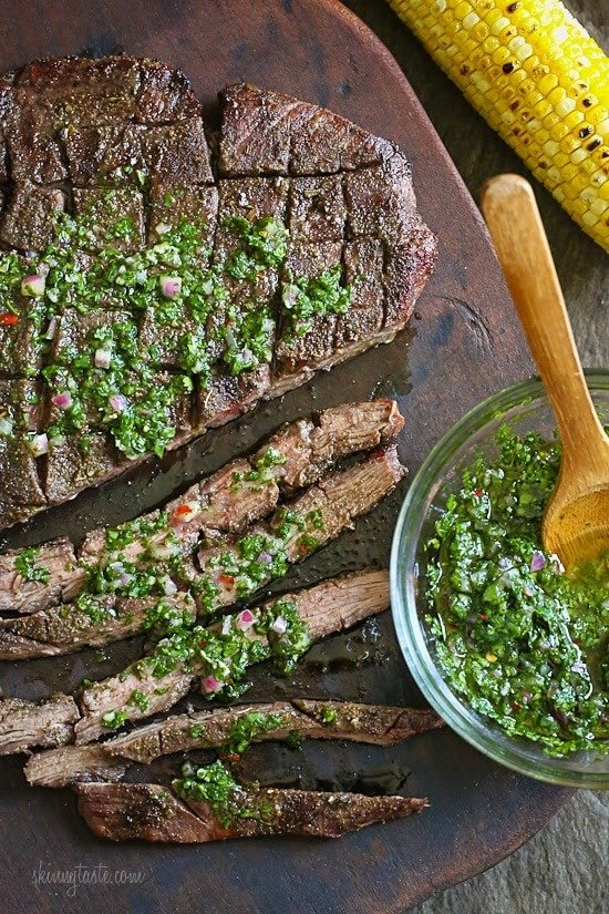 I have always been a steak lover, especially when topped with homemade chimichurri. It adds freshness and zing to grilled meat, chicken or fish, and the sauce can be made a day in advance.