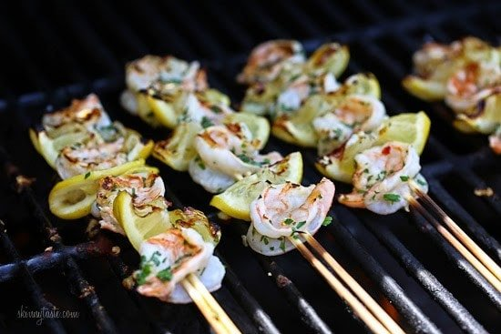 Grilled Shrimp Scampi Skewers – lemon, garlic, parmesan and parsley are the perfect combination for these delicious skewers!