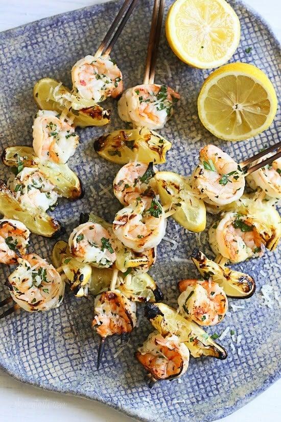 Grilled Shrimp Scampi Skewers – lemon, garlic, parmesan and parsley ...