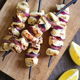 Here's an easy chicken dinner idea – cut up some boneless chicken breast, whip up this easy lemon Dijon marinade and leave this in the fridge overnight (or you can freeze them to use another day) then put them on a skewer and grill them for a quick weeknight dinner.