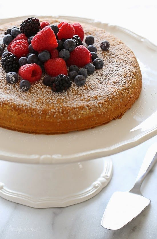 This simple almond cake is made with just five ingredients (not counting the berries), but don't let it's simplicity fool you – it's delicious (and it also happens to be gluten-free)!