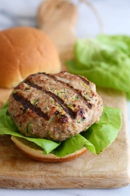 My trick to making the juiciest turkey burgers EVER is by adding grated zucchini! A huge bonus if you want your kids to eat more veggies – they'll never know!