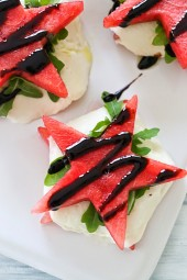 I LOVE the salty-sweet combination of watermelon, mozzarella, arugula and balsamic – a delicious twist on the classic Caprese which is usually made with tomatoes, mozzarella and basil. Cutting the watermelon with a star-shaped cookie cutter makes these perfect for Memorial day or July 4th.