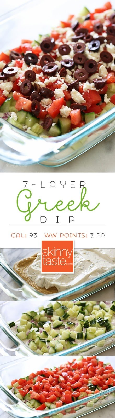 Greek 7 Layer Dip – a healthy dip for backyard parties or summer potlucks!