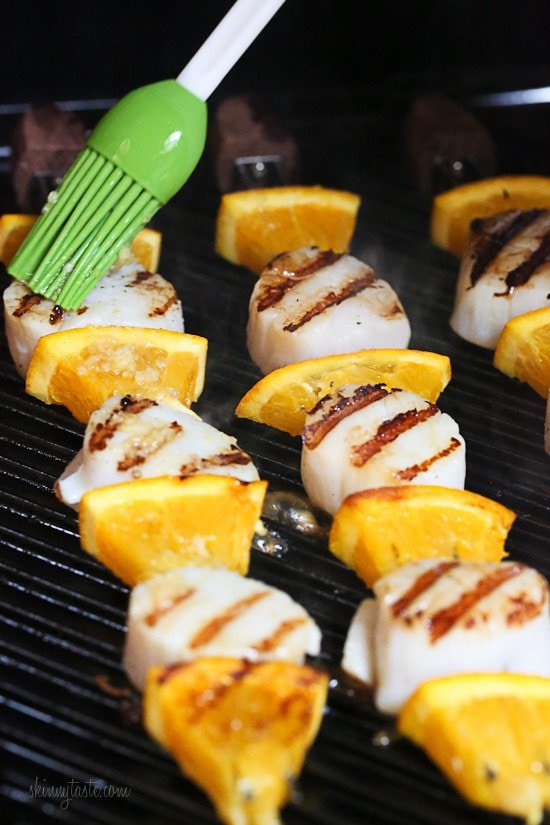 Scallop and Orange Kebabs with Honey-Ginger Glaze – just 5 ingredients and ready in under 15 minutes!