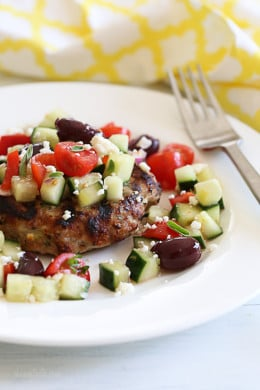 I adapted my original turkey burger recipe and added fresh oregano and Feta cheese to the burgers. Then I made a simple Greek salad with cucumbers, tomatoes, red onion and a package of Salad Savors and the results were outstanding! I'll be making these all summer.