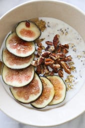 Overnight oats are so simple to make, I just soak the oats a few hours or overnight in any kind of milk along with chia seeds, then top with honey and figs. No cooking required!