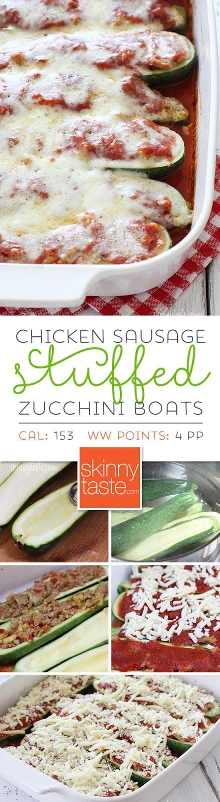 Sausage Stuffed Zucchini Boats – my favorite LOW-CARB summer recipe!