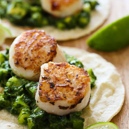 What makes these tacos better than just good is this amazing green herb salsa made with fresh herbs, jalapeño and little dices of cooling cucumber and avocado. When paired with these quick sauteed scallops and a squeeze of lime juice on top you'll probably contemplate opening up your own taco truck (or at least I did!), they are that good!