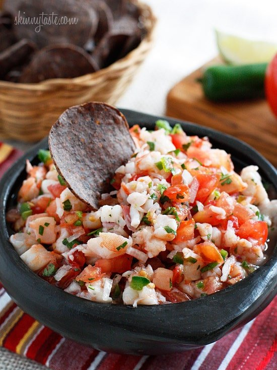 Shrimp, tomatoes, cilantro, red onion and lime are combined to create a zesty protein-rich salsa. Bring this to a party and watch it disappear!