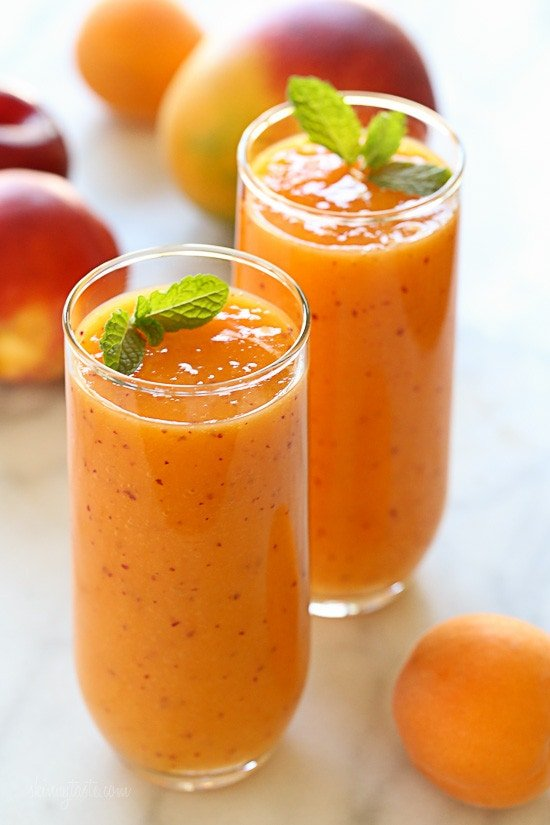 If a smoothie could taste like summer, this would be it! This dairy-free, gluten-free, vegan smoothie is simply delicious, made with ripe mango, plums, apricots and peaches or nectarines.