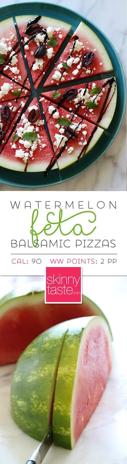 """Watermelon Feta and Balsamic """"Pizzas"""" –a fun summer appetizer or the perfect side dish for anything you put on the grill."""