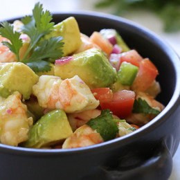 Lime juice and cilantro are the key ingredients to creating this wonderful, healthy salad you'll want to make all summer long. Made with cooked peeled shrimp and the freshest ingredients – avocados, tomatoes, red onion, cilantro and chopped jalapeño tossed with some freshly squeezed lime juice and a touch of olive oil.