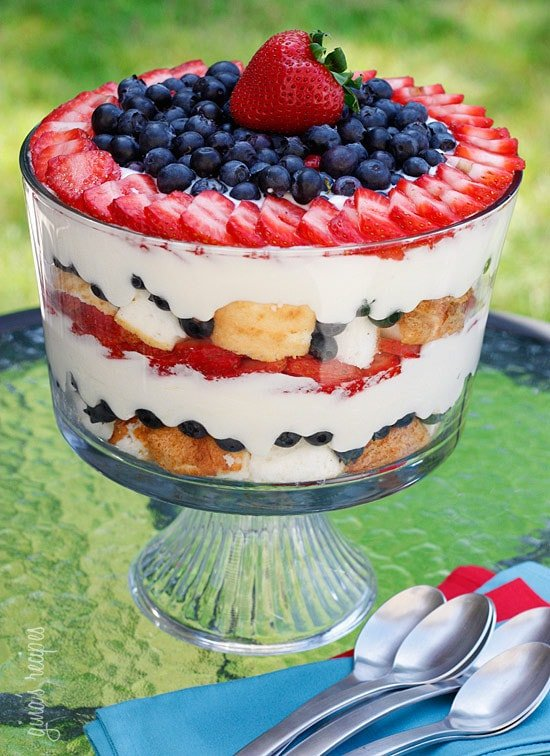 A heavenly mixed berry trifle made with fresh summer blueberries and strawberries, white chocolate pudding, angel food cake, and whipped cream.