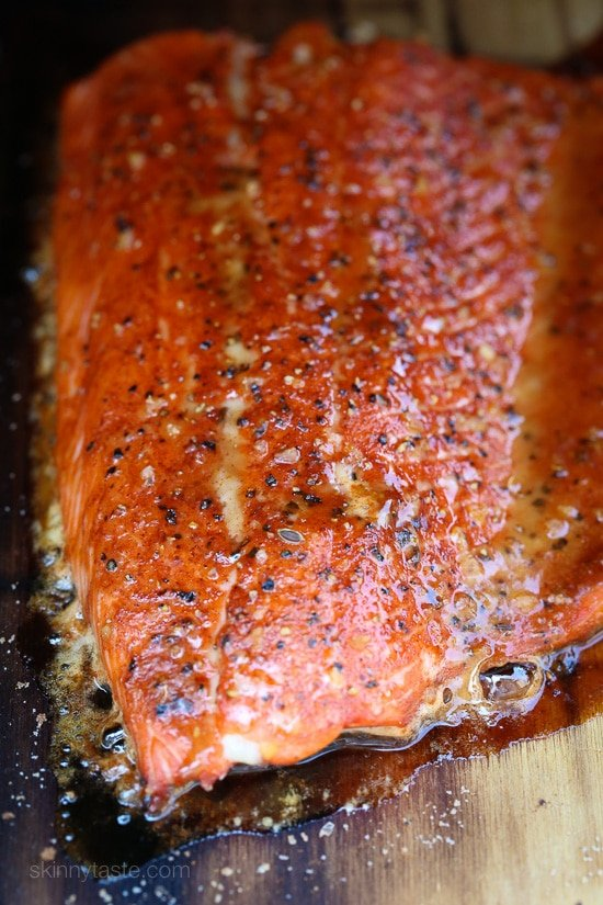 Cedar Plank Spice-Rubbed Salmon is a wonderful salmon dish made on a cedar plank topped with a brown sugar spice rub.