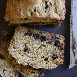 This super moist Chocolate Chip Zucchini Bread is loaded with chocolate chips in every bite. Made healthier with a whole wheat flour blend and lots of apple sauce in place of butter for results that are moist and delicious, without a ton of fat.