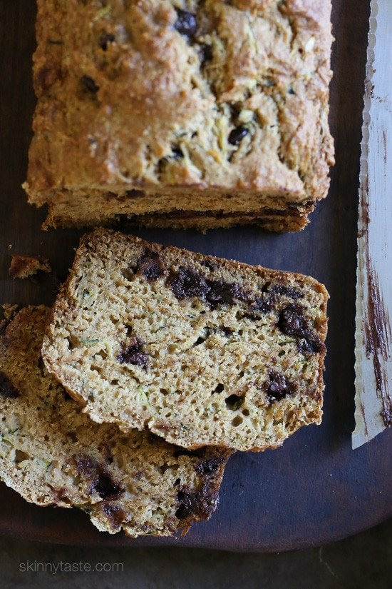 Low Fat Chocolate Chip Zucchini Bread – this super moist bread is loaded with chocolate chips, made with whole wheat flour and mostly apple sauce in place of butter.