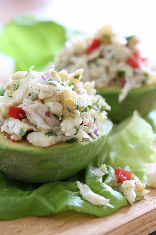 This stuffed avocado and lump crab salad is light and fresh, made with lime juice, olive oil, cilantro and red onion. So quick because there is no cooking involved! It's refreshing and perfect for the Spring or Summer as a lunch or appetizer if you're entertaining, you can easily double or triple this recipe, make the salad ahead and assemble just before serving.