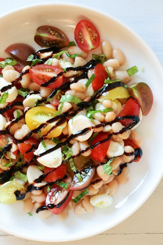 Nothing says summer like a Caprese salad, and this one is made with white beans for added protein and fiber. It's EASY to make, and there's no cooking required which is a bonus during these hot summer temperatures we're having this week.