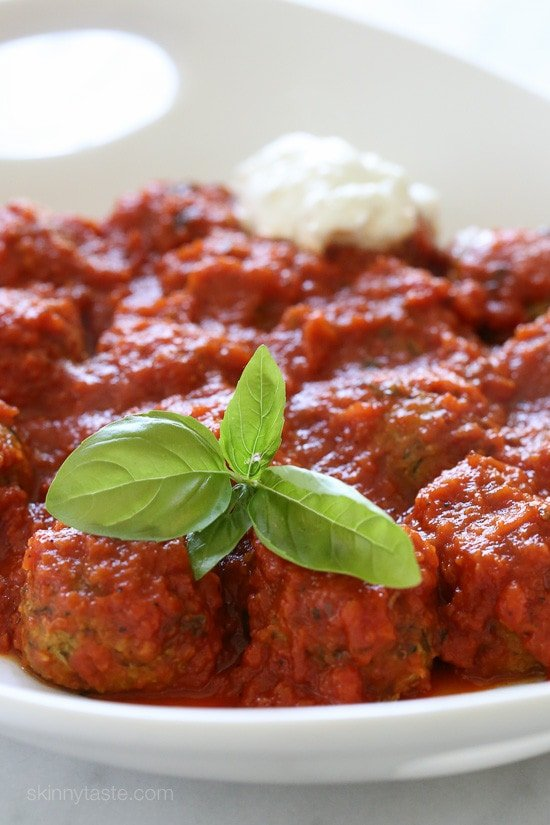 "Zucchini ""Meatballs"" – delicious meatless zucchini meatballs baked and simmered in Pomodoro Sauce."