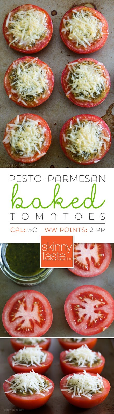 Pesto-Parmesan Baked Tomatoes - EASY, only 3 ingredients!