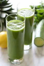 Cucumber, Parsley, Pineapple and Lemon Smoothie is great for alleviating inflammation, asthma and airborne allergies.