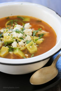 """Tender-crisp veggie noodles make a wonderful low-carb pasta replacement in this delicious, Latin inspired Chipotle Chicken Zucchini """"fideo"""" soup combined with bright fresh cilantro, creamy avocado and some crumbled queso fresco on top."""