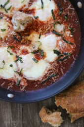 When you poach eggs in a flavorful tomato sauce and top them with fresh grated Parmigiano-Reggiano and Pecorino Romano cheese, you'll think you're having the best tasting raviolis ever! Get a crusty whole grain baguette and you have yourself a meal, perfect for brunch, lunch or dinner!