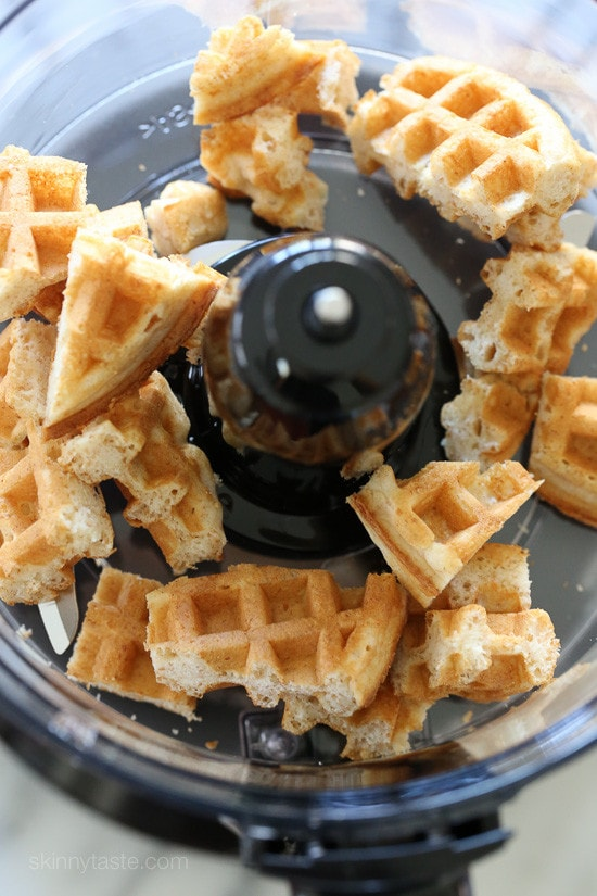 Waffles placed in the food processor.