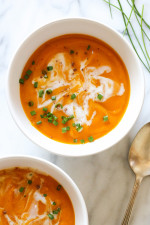 This is the easiest, creamiest, yummiest Fall slow cooker soup recipe – perfect for all you butternut lovers out there! Using only a 6 ingredients and very minimal prep (no need to peel the squash), you will have yourself a creamy, dreamy winter squash soup to satisfy your soup loving soul. It's also gluten-free and vegan which is great if you have dietary restrictions at home.