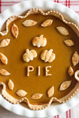 A Thanksgiving dessert table is never complete without the pumpkin pie. To lighten this up, I use less sugar and a thinner crust, but you can't tell!