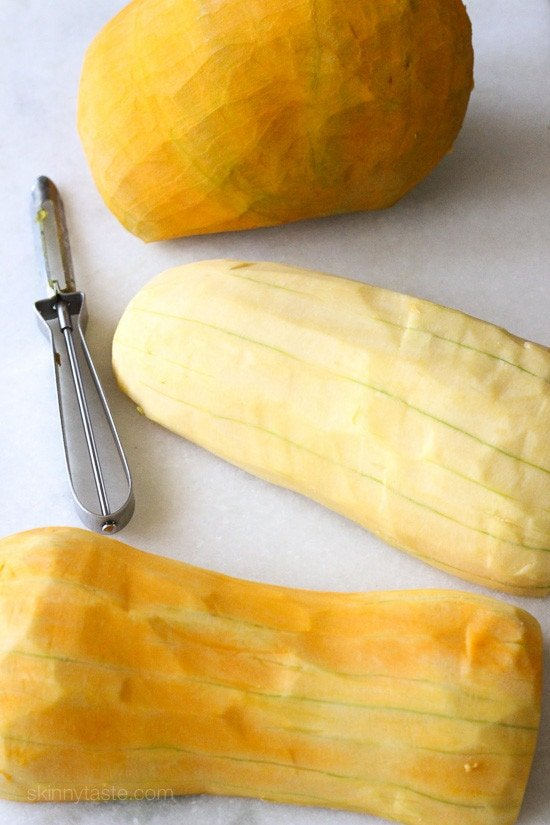 peeling winter squash