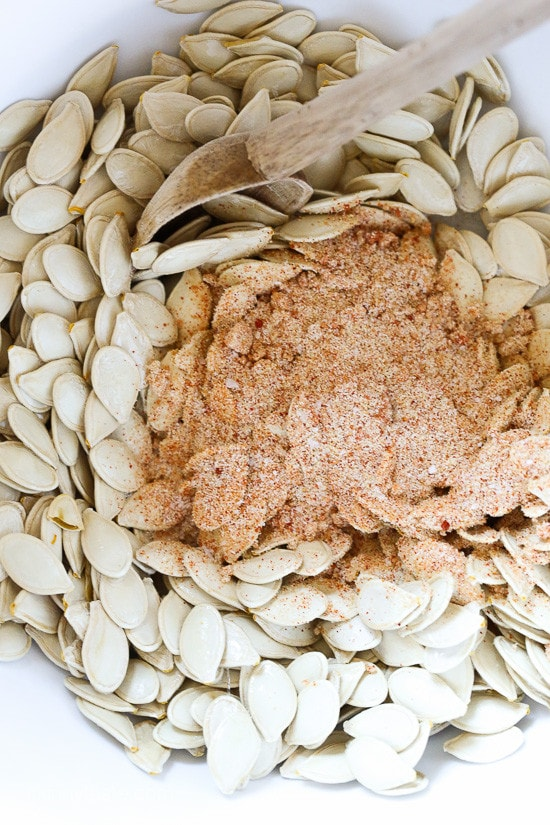 Smoky BBQ Spiced Pumpkin Seeds, a fun twist on roasted pumpkin seeds that are healthy to snack on, or use them as a salad topper.