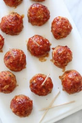 These sweet and spicy meatballs are made with ground turkey, cherry peppers and bacon (because who doesn't love bacon!) Topped with a BBQ glaze, they are perfect for weekend gatherings, football appetizers or anytime you want finger foods.