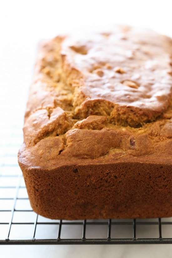 Pumpkin Banana Pecan Bread – made light by swapping most of the butter for pumpkin puree, bananas and apple sauce!