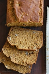 So moist and flavorful, this pumpkin banana pecan bread made light by replacing butter with lots of bananas, pumpkin and apple sauce.