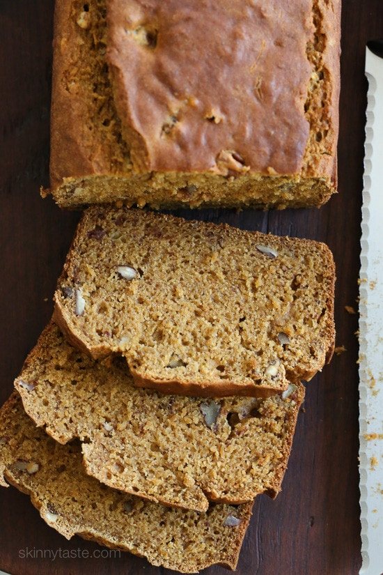 So moist and flavorful, this bread is made light by replacing butter with lots of bananas, pumpkin and apple sauce.